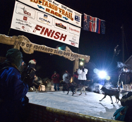 Jeff King at the Iditarod Finish Line